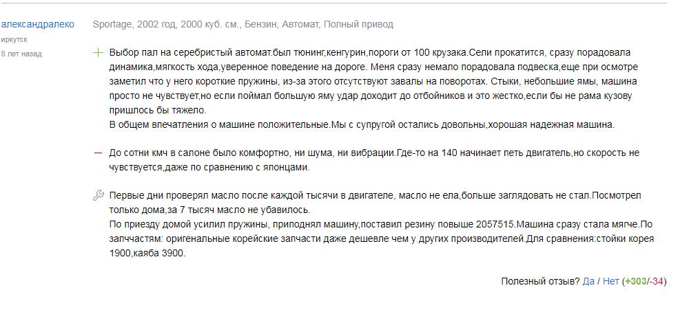 Мнения про «Киа Спортейдж 1»