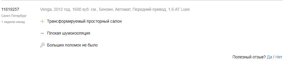 Отзывы о Kia Venga 2012